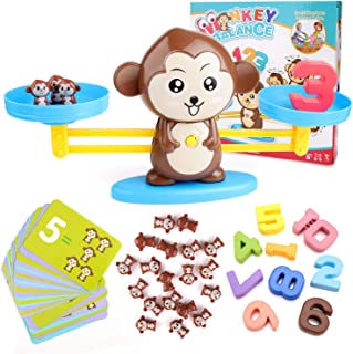 BBLIKE Math Toys, 65 Pcs Monkey Balance Math Cards Number Blocks Educational Toys for Counting Game Maths Games for 3 Years Old Boys and Girls