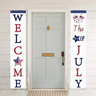 Mosoan 4th of July Decoration Patriotic Porch Sign - July 4th Porch Decorations - 4th of July Decorations Outdoor Indoor - Welcome Banner Fourth of July Party Supply - Independence Day Decorations
