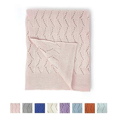 "effe bebe Ravelry Knitted Baby Blanket 30""x40"" (Petal Pink)"