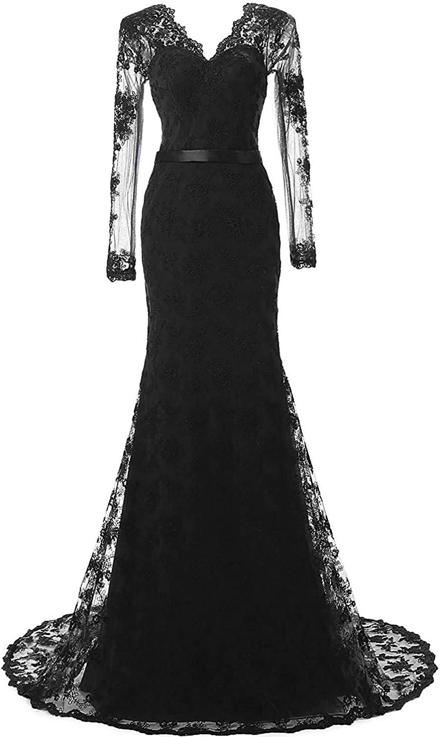 Topashe Women's Long Sleeve Lace Appliques V Neck Illusion Evening Dress