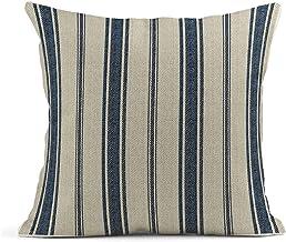 Emvency Throw Pillow Cover Cotton Linen Navy Blue French Jacquard Stripe Decorative Cotton Linen Striped Home Decor Square...