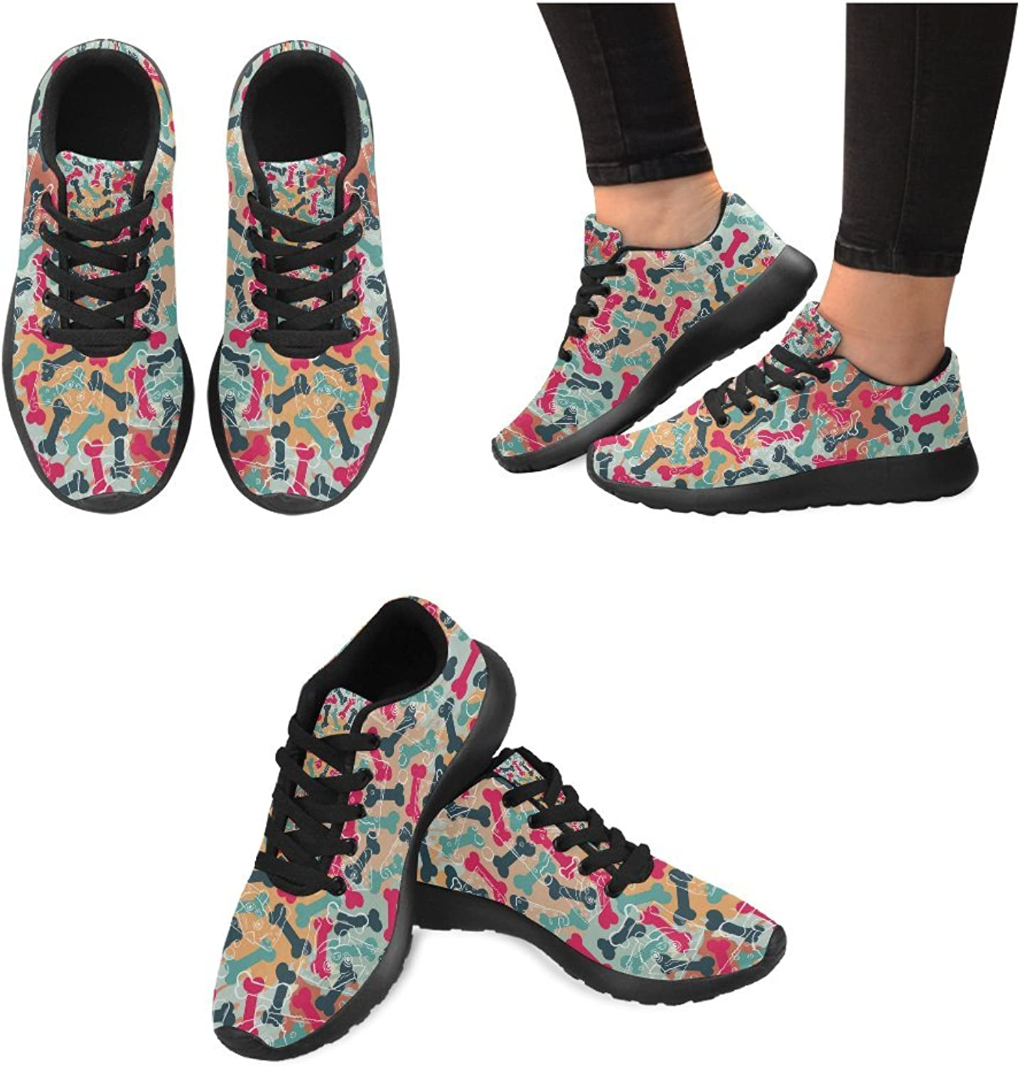 InterestPrint colord Bones Print on Women's Running shoes Casual Lightweight Athletic Sneakers US Size 6-15