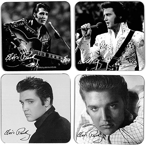 Set 4 Charming Vintage Black And White Elvis Presley Portraits Coasters