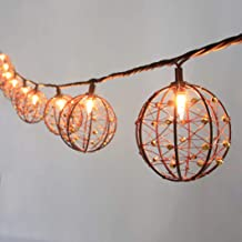 ZHONGXIN Outdoor Patio String Lights, 10 Mini Bulbs with Beaded Copper Wire Ball Style, UL Listed Connectable Weather-Resistant Indoor/Outdoor Decor Light for Home Pergola Garden Party Backyard …