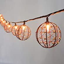 MYHH-LITES Outdoor Patio String Lights, 10 Mini Bulbs with Beaded Copper Wire Ball Style, UL Listed Connectable Weather-Resistant Indoor/Outdoor Decor Light for Home Pergola Garden Party Backyard