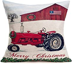 Hopyeer Merry Christmas Rustic Country American Flag Farmhouse Decor Throw Pillow Covers Cotton Linen Xmas Wreath FarmTractor Red Truck Pillowcase Winter Decoration Cushion Cover 18x18(CR-House)