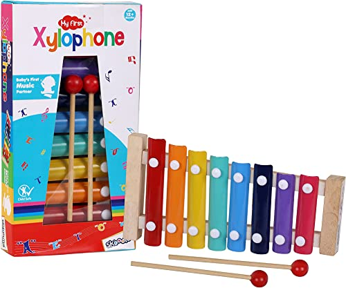 My First Xylophone for Kids and Toddlers with Harmonica Best Educational Musical Instrument with Wooden Mallets for Boys and Girls Best for Birthday Gifts 1 Wooden Xylophone 2 Wooden Sticks