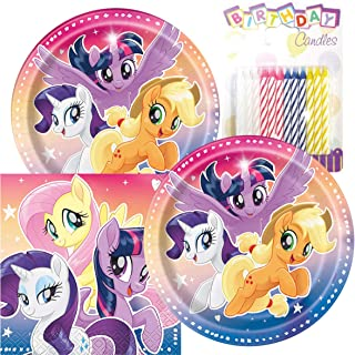 """My Little Pony Birthday Party Pack – Includes 7"""" Paper Plates & Beverage Napkins Plus 24 Birthday Candles – Serves 16"""