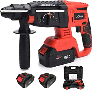 Flybiz 21V Cordless Hammer Drill, 4550 RPM Rechargeable Brushless Hammer, Hand Drill Hammer and Pick 3 Mode in 1, with 36...