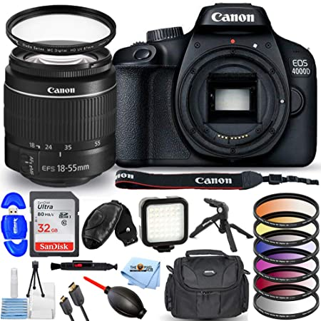Canon EOS 4000D / Rebel T100 with EF-S 18-55mm III Lens - Pro Bundle Includes: Ultra 32GB SD, LED Light Kit, Tripod, Gadget Bag, UV Filter, HDMI Cable and More