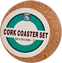 Dolphin Collection M15010R2 Round Cork Coaster, 145mm (Pack of 2),Brown