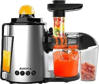 Licuadora Prensado en Frio, AUCMA Licuadora Frutas Verduras, Extractor de zumos con Función inversa, Motor Silencioso, Lim...