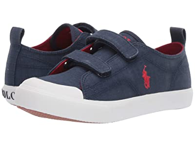 Polo Ralph Lauren Kids Kingsley EZ (Little Kid) (Navy Textured Canvas/Red Pony) Kid