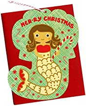 product image for Night Owl Paper Goods Merry Mermaid Real Wood Ornament Holiday Card