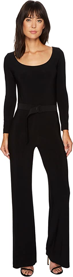 KAMALIKULTURE by Norma Kamali Scoop Neck Jumpsuit with Mid Belt
