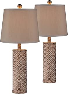 Gisele Cottage Table Lamps Set of 2 Gold Wash Lattice Column Tapered Drum Shade for Living Room Family Bedroom Nightstand - 360 Lighting