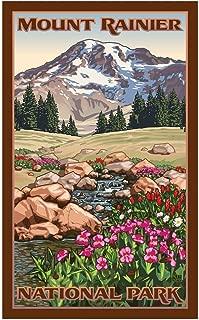 Hiking Mount Rainier Washington Travel Art Print Poster by Paul Leighton (12