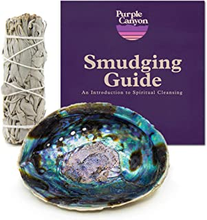 PURPLE CANYON Sage Smudge Kit with Abalone Shell | White Sage Smudge Sticks Incense Kit for Meditation Home Cleansing Aromatherapy