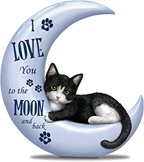 The Hamilton Collection Blake Jensen Collectible Cat Figurine in Pearlescent Moon with Loving Sentiment
