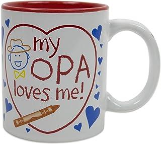 """""""My Opa Loves Me"""" Colorful Ceramic Coffee Mug Opa Gift Idea"""