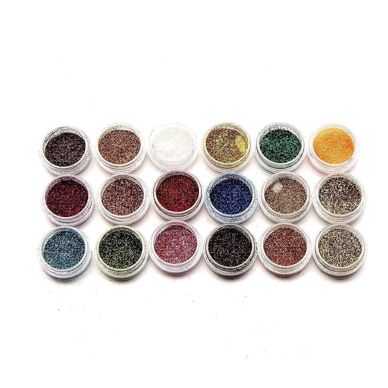 便益ナプキンドラフト18色ネイルアートグリッターパウダーダスト用UVジェルアクリルパウダーデコレーションのヒント