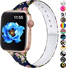 Haveda Floral Bands Compatible for Apple Watch Series 4 Series 5 40mm, Slim Printed Pattern 38mm Apple Watch Band Women Silicone Sport Wristbands for iWatch Series 3 Series 2/1, Blue Rose