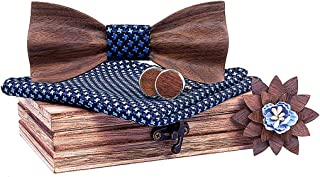 Lovacely Mens Handmade Walnut Wood 3D Design Bow Tie with Pocket Square and Men's Wooden Cufflinks Lapel Brooch Pin Set