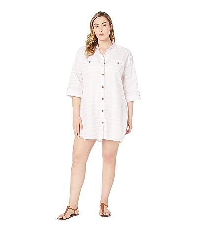 DOTTI Plus Size Baja Stripe Shirtdress Cover-Up (Blush) Women