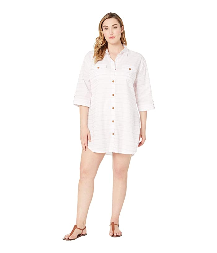 DOTTI Plus Size Baja Stripe Shirtdress Cover-Up (Blush) Women