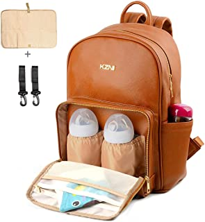 KZNI Leather Diaper Bag Backpack Nappy Bag Baby Bags for Mom Unisex Maternity Diaper Bag with Stroller Hanger|Thermal Pock...