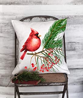 "Christmas Holiday Pillow Red Cardinal with Holly Berries 18"" x 18"""