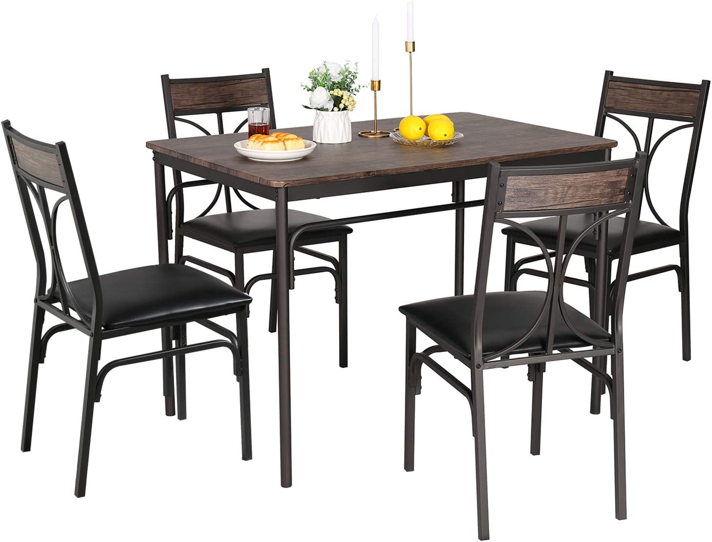 VECELO 5-Piece Indoor Modern Rectangular Selling Dining Max 88% OFF Set for Table Ki