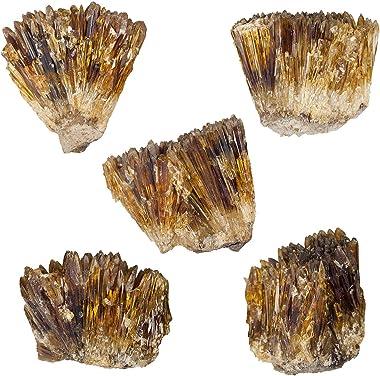 mookaitedecor Natural Raw Amber Calcite Crystal Cluster Geode Stone Mineral Specimen Gemstone for Reiki Healing Home Decorati