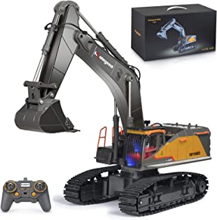 kolegend Remote Control Excavator Toy 1/14 Scale RC Excavator, 22 Channel Upgrade Full Functional Construction Vehicles Rechargeable RC Truck with Metal Shovel and Lights Sounds