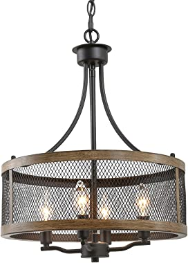 "Farmhouse Chandeliers for Dining Room, Vintage Pendant Lighting for Living Room, Drum Hanging Light Fixture of 4-Light, Oil Black & Faux Wood Finish, 16"" in Diameter"