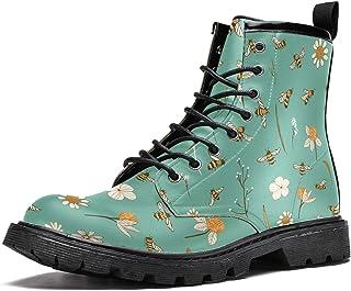Bottes d'hiver chaudes à lacets avec motifs abeilles et fleurs volantes - Pour homme et adolescent