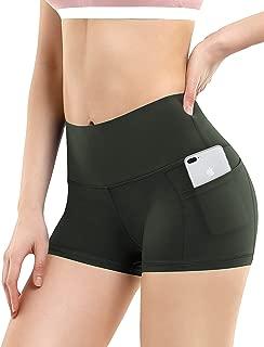 BUBBLELIME 6.35 厘米/20.32 厘米内缝高腰外侧口袋瑜伽短裤运动短裤