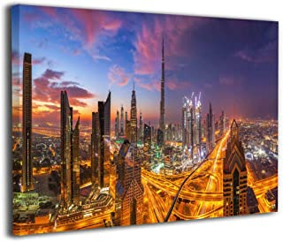 Hd8yehao Sunset Over Dubai Skyline Canvas Wall Art Prints Picture Contemporary Paintings Home Decoration Giclee Artwork Wood Frame Gallery Stretched