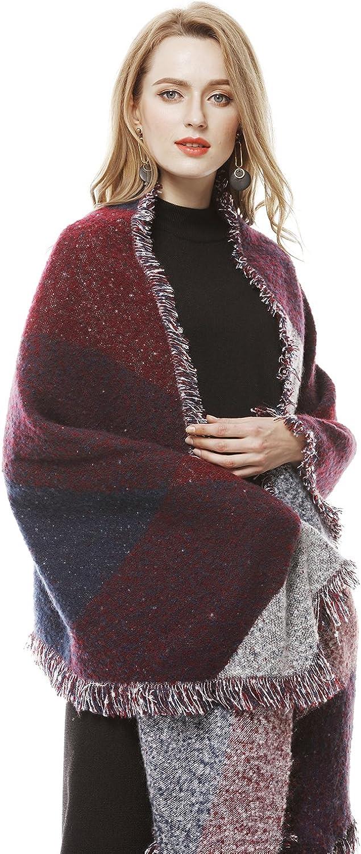 Women's Winter Thick Knit Long Shawl Cape Poncho Stylish Fringe Plaid Scarf
