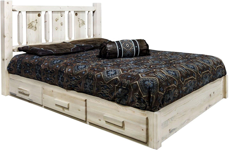 Montana Woodworks Homestead Collection Over item handling Platform w Bed Storage low-pricing K