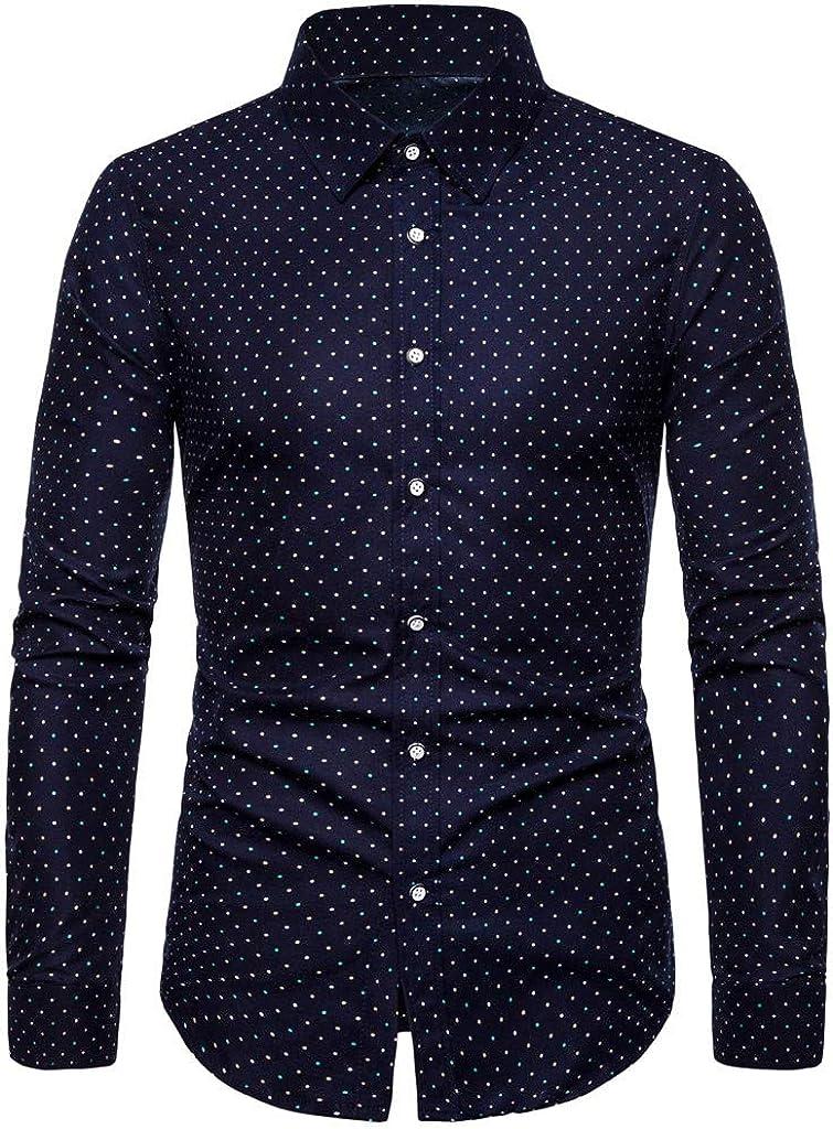 MODOQO Men's Long Sleeve Shirt Casual Dot Print Button Down Slim Fit Shirt Top