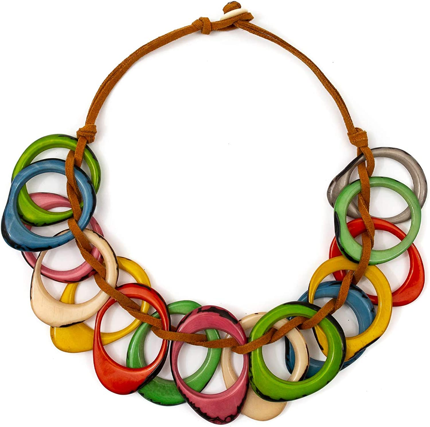 Tagua Dawn Fashion Necklace Tagua Nut Ethical Bead Slow Fashion Beaded Wooden Eco Friendly Boho Unique Handmade Statement Jewelry
