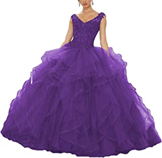 Yisha Bello Women's Applique Beaded Organza Ruffles Prom Ball Gown V- Necklace Up Quinceanera Dress