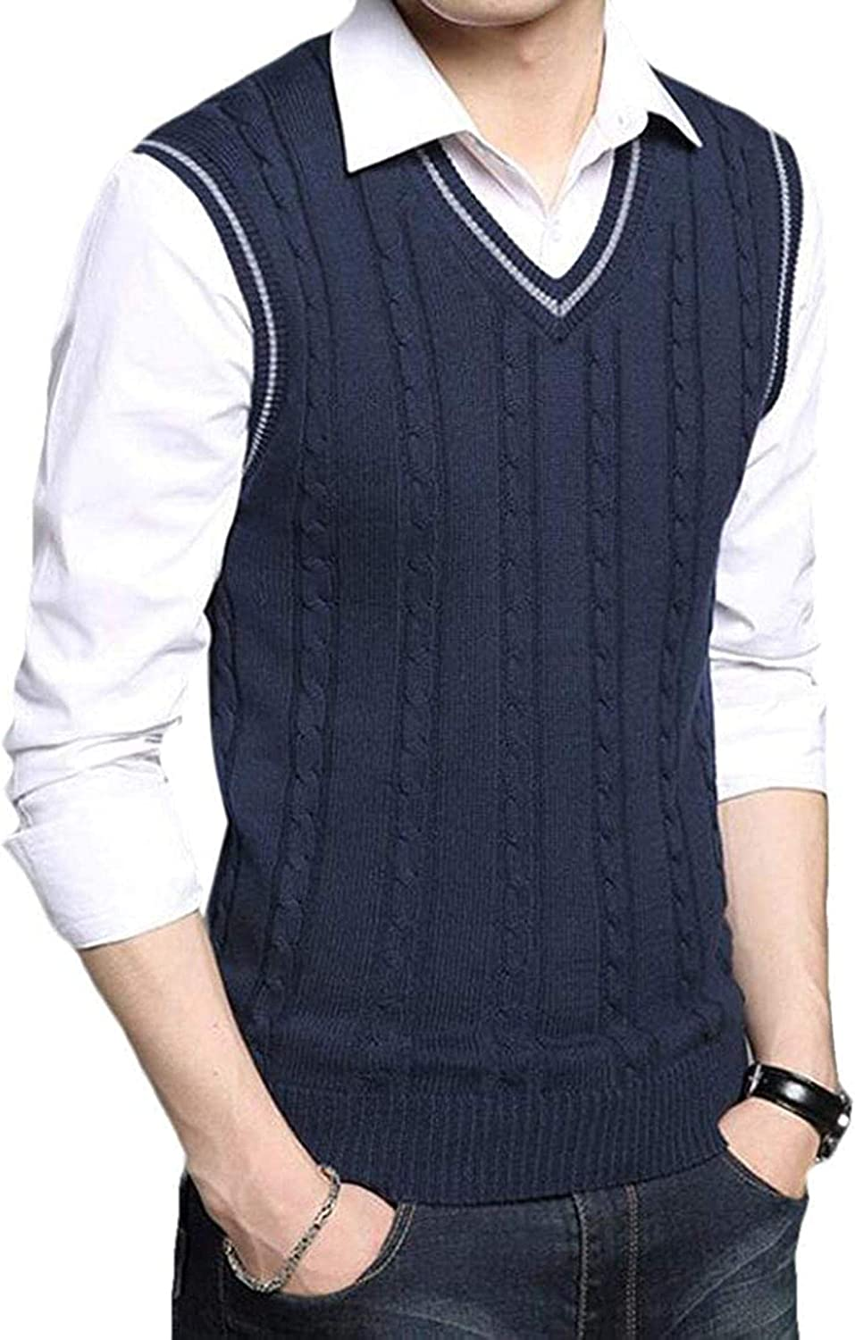 QNMGB Men Knit V-Neck Sweater Solid Color Casual Slim Fit Pullover Sweater Vest,Navy Blue,Small