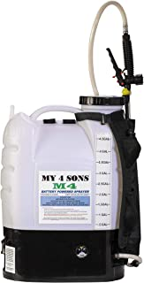 M4 MY4SONS 4-Gallon Battery Powered Backpack Sprayer Wide Mouth with Steel Wand and Brass Nozzle, Battery Included New extra comfort heavy duty straps