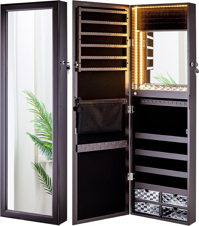 LUXFURNI Mirror Jewelry Cabinet 20 LED Lights Wall Mount/ Door Hanging  Armoire, Lockable Storage Organizer w/ Drawers Brown