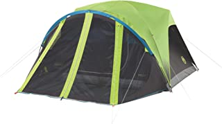 Coleman Carlsbad 4' x 7' Dark Room Screen Dome Camping 4 Person Tent with Screen Room Bundle with 30 Degree Camping Sleeping Bag for Kids and Adults
