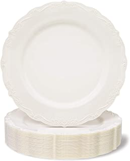 25 Pack Plastic Dinner Plates for Party, Cream with Fine Detailing (10 Inches)