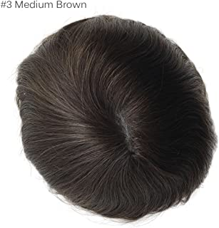 Men toupee super thin skin Vloop hair repalacemnt hair pieces men wig (8×10 inch,#3 Medium Brown)