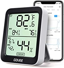 Govee Smart Hygrometer Thermometer, Bluetooth Humidity Temperature Gauge with Remote Monitor, Large LCD Display, Notification Alert with Max Min Records, 2 Years Data Storage Export, Black